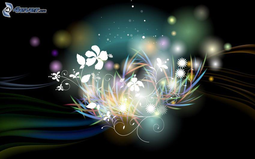 cyfrowe kwiaty, kolorowe linie