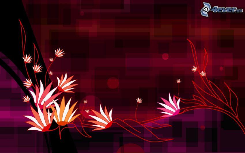 cyfrowe kwiaty, kwadraty