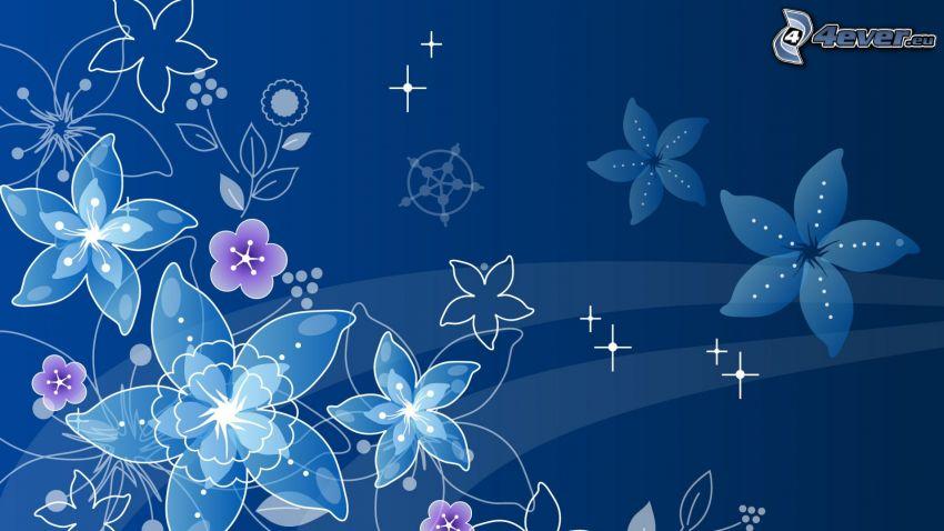 cyfrowe kwiaty, niebieskie tło