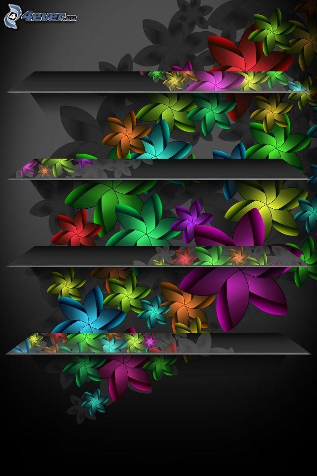 cyfrowe kwiaty, półki