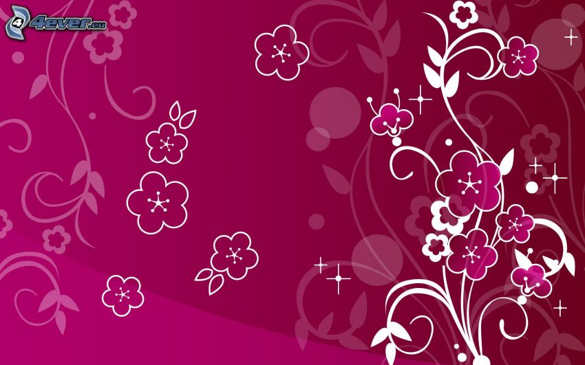 cyfrowe kwiaty, różowe tło