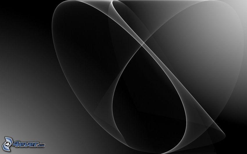 czarne tło, białe linie