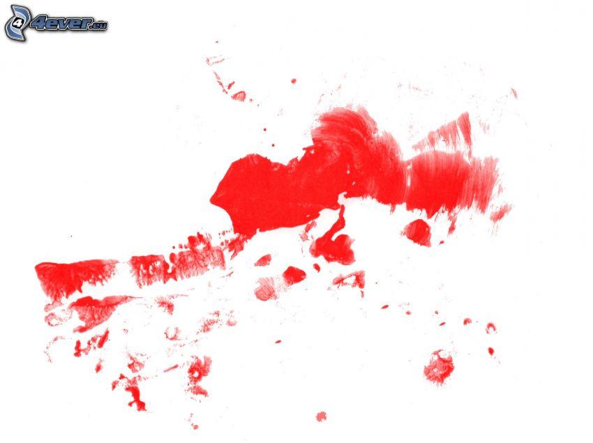 czerwony kolor, kleksy
