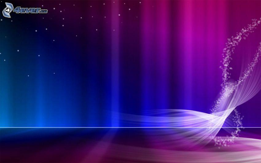 fioletowe tło, białe linie, niebieskie paski, kropki