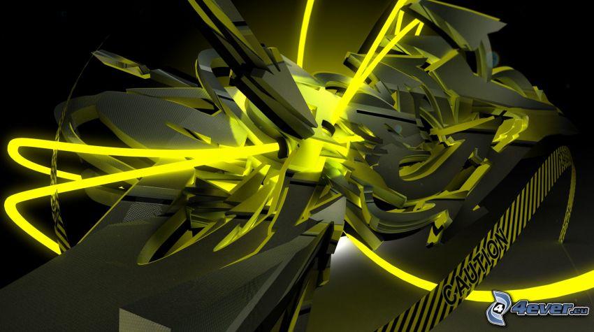 graffiti, abstrakcyjne, 3D