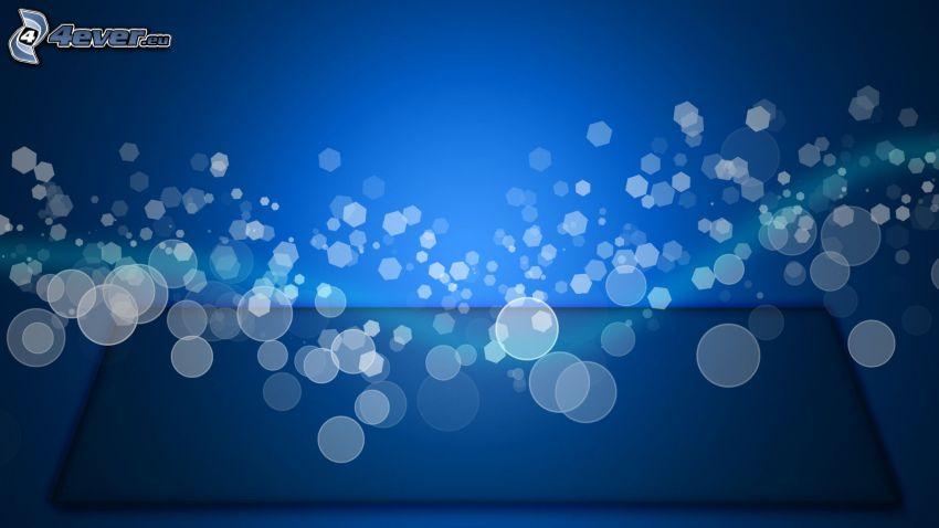 kółka, sześciokąty, niebieskie tło