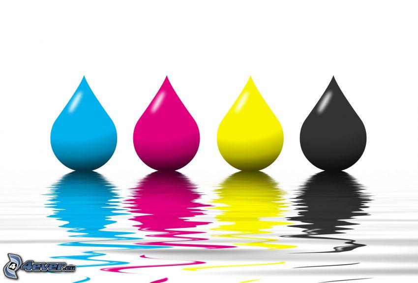 kolorowe krople, powierzchnia wody