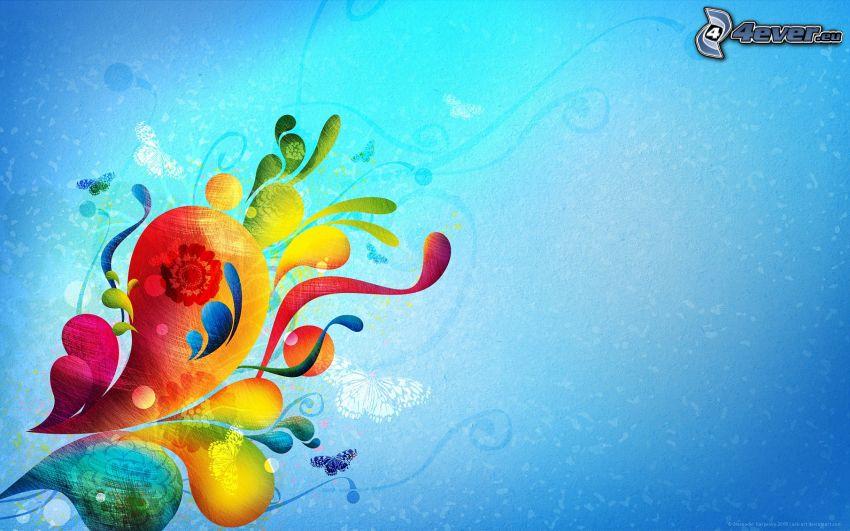 kolorowe kształty, niebieskie tło
