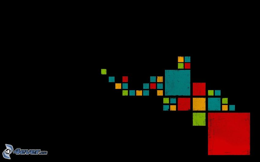 kolorowe kwadraty, czarne tło