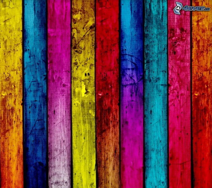 kolorowe paski, drewno