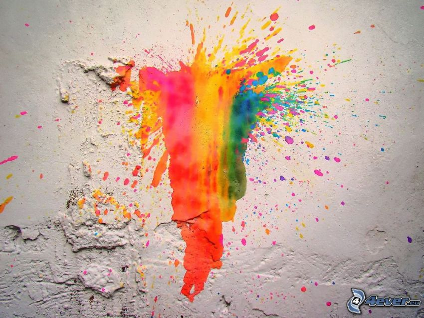 kolorowy kleks, ściana