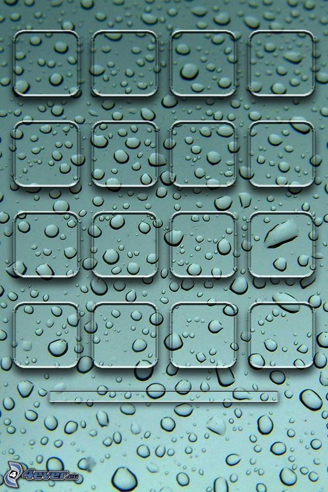 kwadraty, krople wody