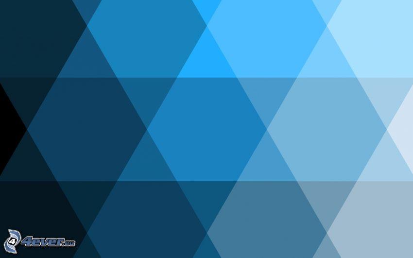 niebieskie tło, sześciokąty, trójkąty