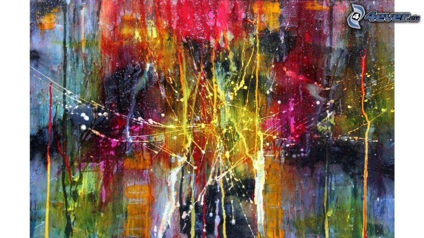 obraz, abstrakcyjne, kleksy