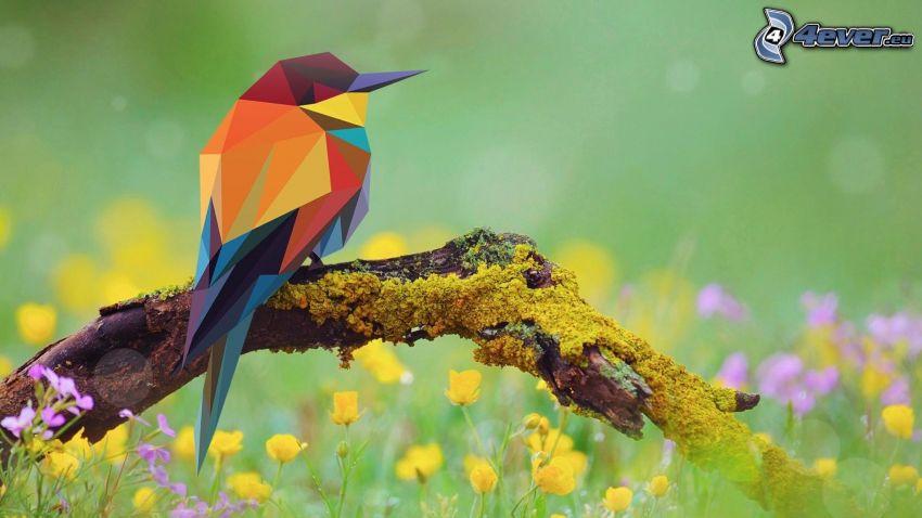 ptak, abstrakcyjne trójkąty, konar, trawa, polne kwiaty