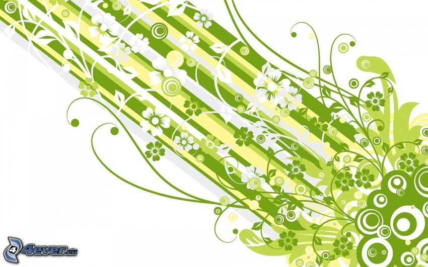 rysunkowe, kwiaty, zielone pasy, białe paski