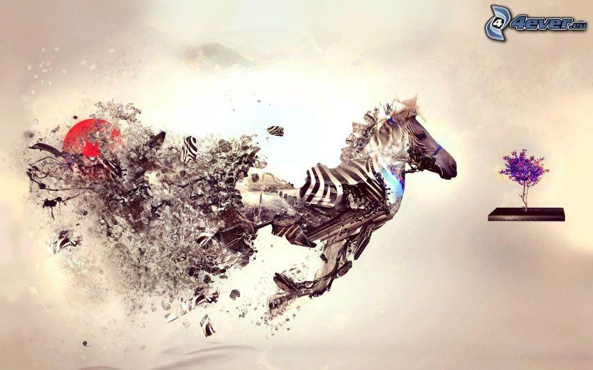 zebra, bieg, drzewo