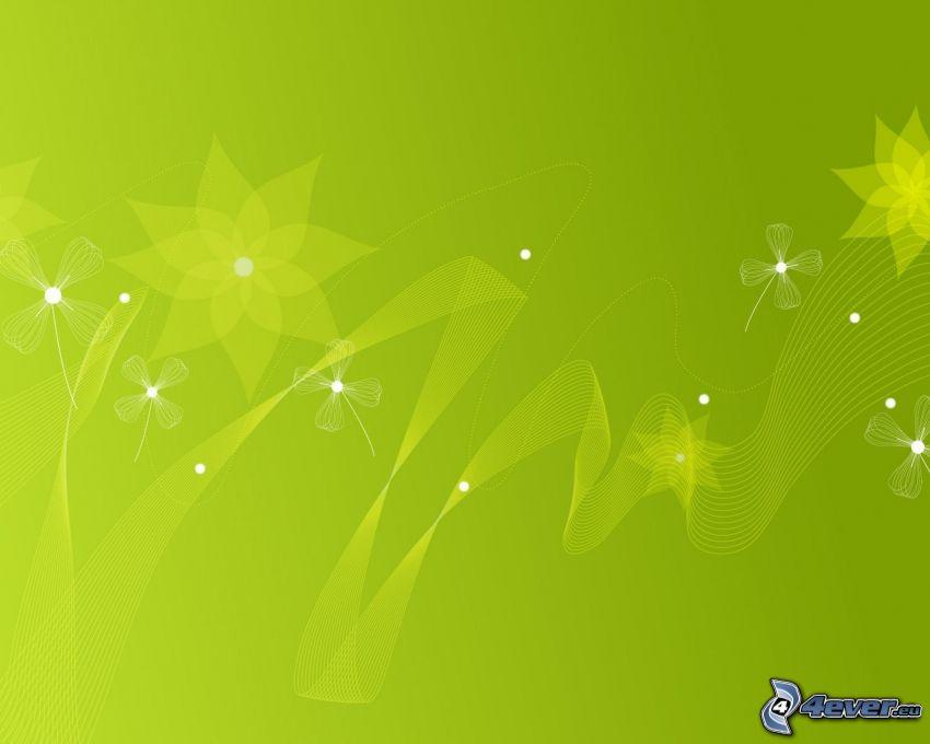 zielone tło, cyfrowe kwiaty