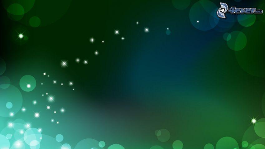 zielone tło, kółka, światełka