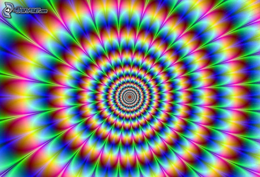 złudzenie optyczne, kolorowe pierścienie