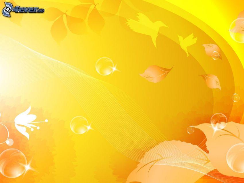 żółte tło, liście, ptaki, bańki