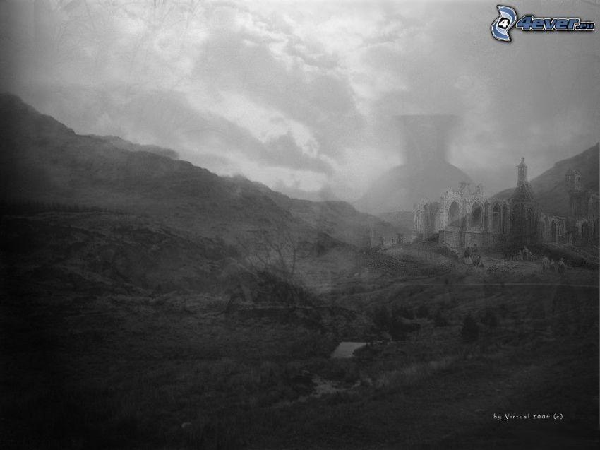 cień, ruiny, szary
