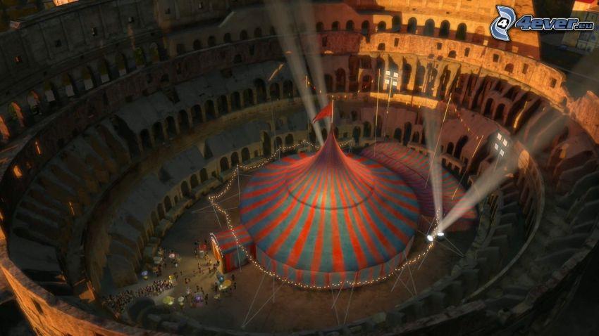 cyrk, światła, amfiteatr