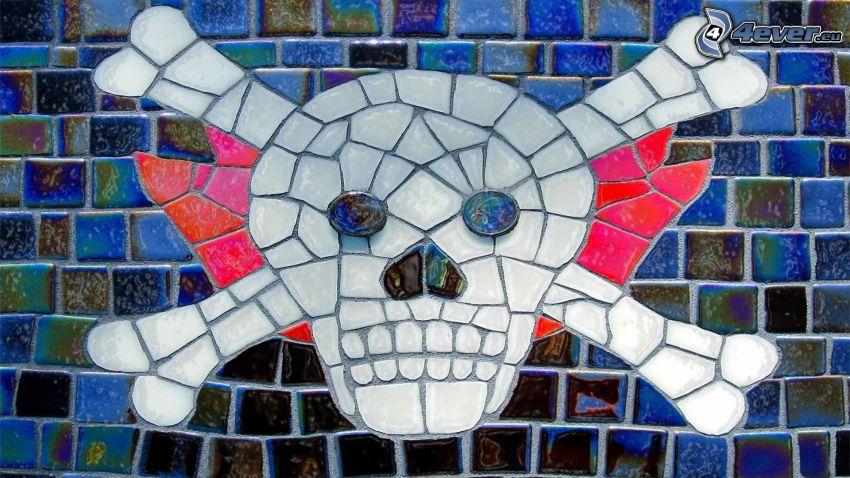 czaszka, mozaika