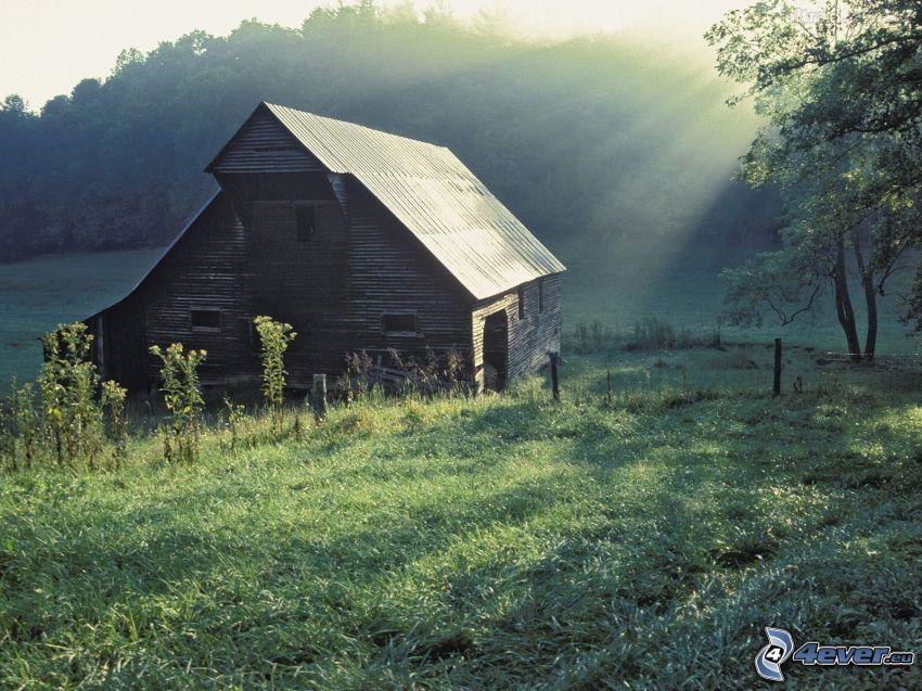 domek, promienie słoneczne, łąka