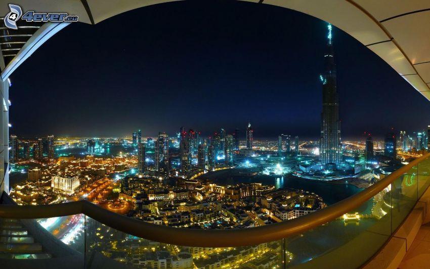 Dubaj, miasto nocą, Burj Khalifa, HDR