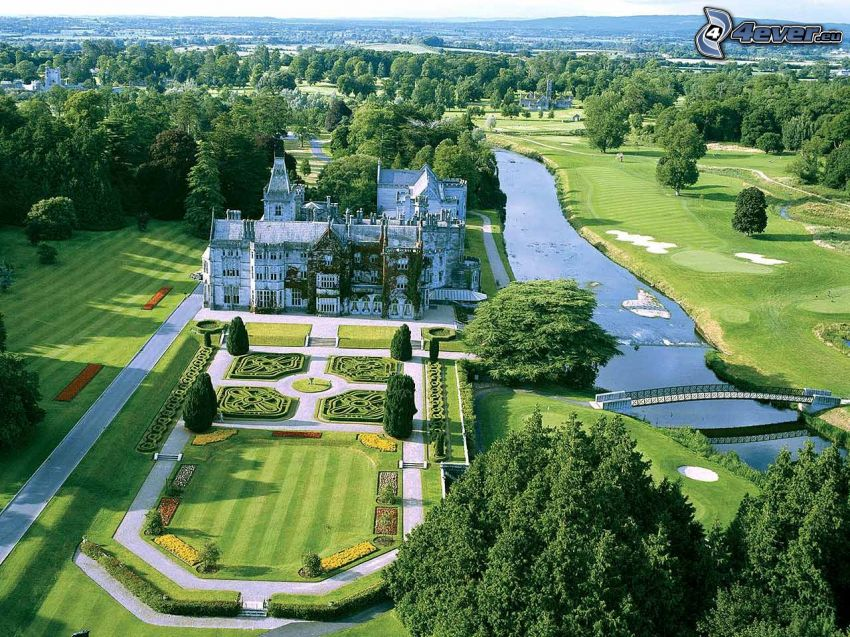 Adare Manor, hotel, ogród, park, most, rzeka