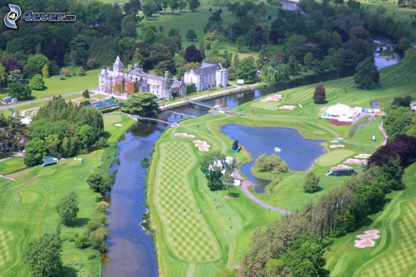 Adare Manor, hotel, park, pole golfowe, rzeka