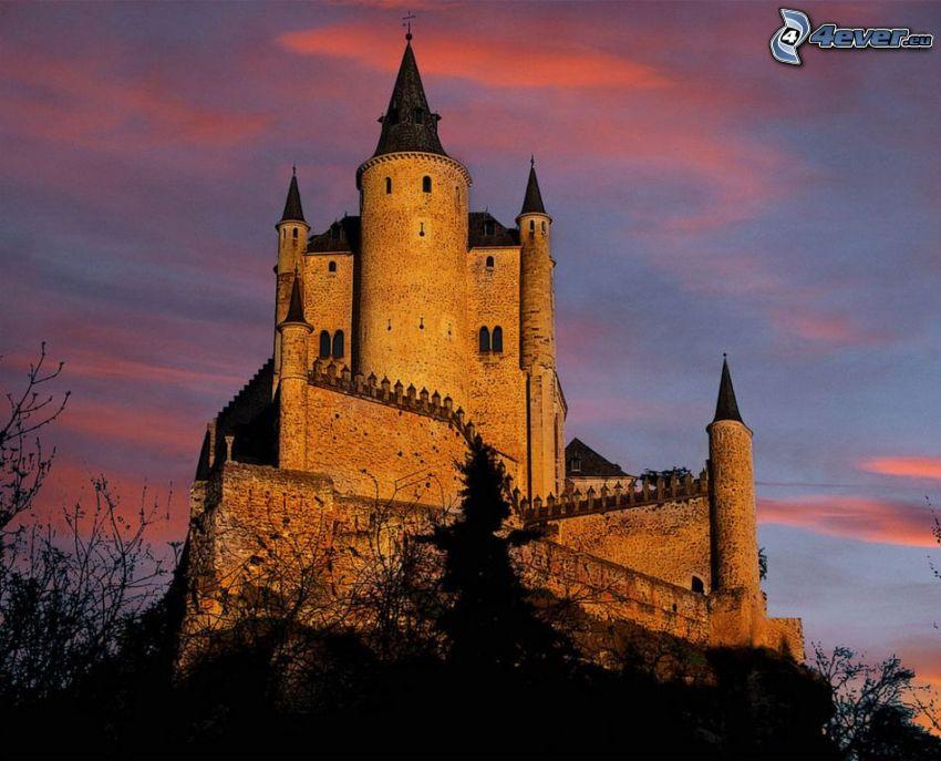 Alcázar of Segovia, niebo o zmroku