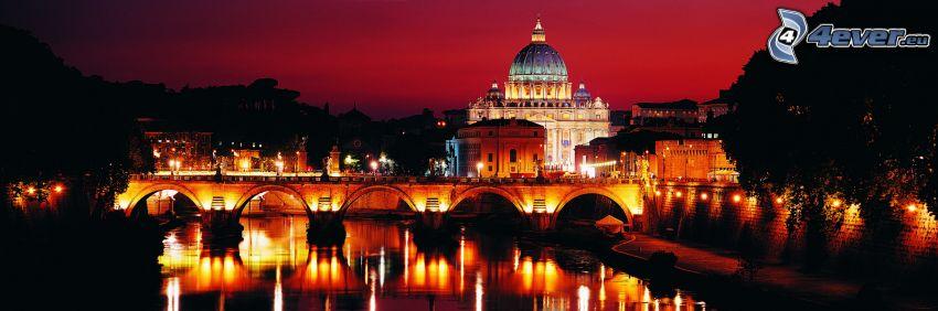 Bazylika św. Piotra, Watykan, Włochy, miasto nocą, oświetlony most