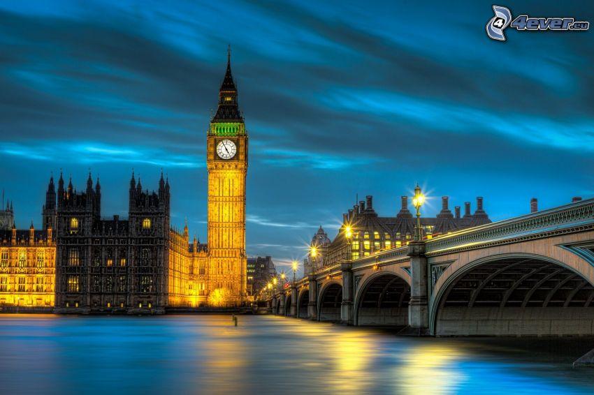Big Ben, Londyn, wieczór, oświetlenie