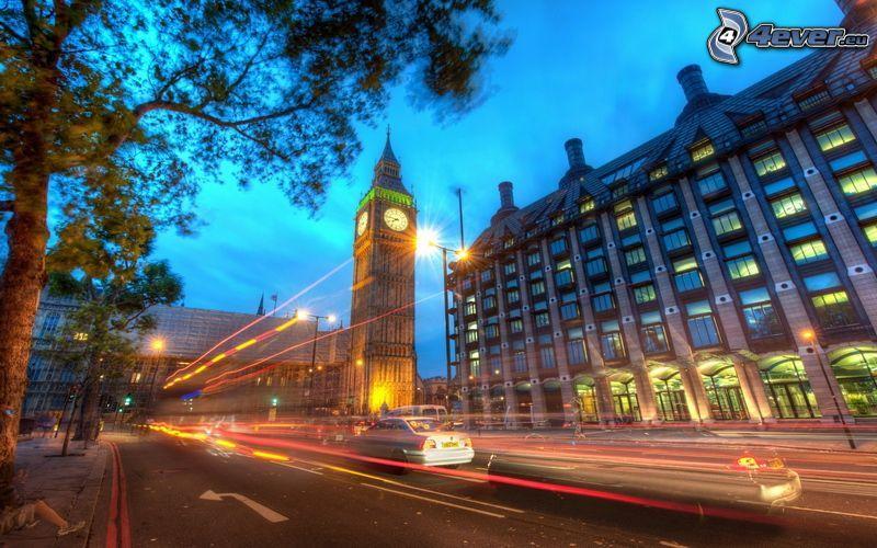 Big Ben, Londyn, wieczór, ulica