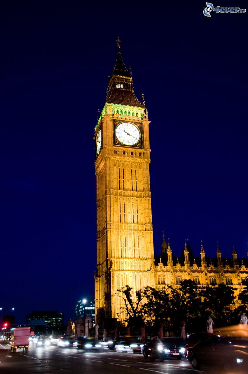 Big Ben, oświetlenie, wieczór, Londyn, Anglia
