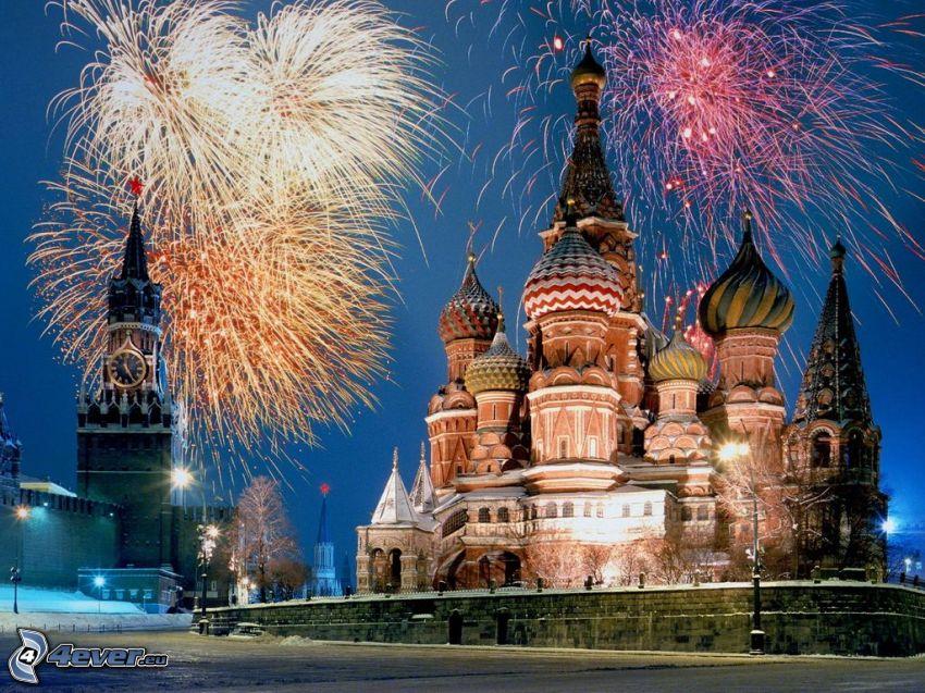 Cerkiew, Błogosławionego Wasyla, Moskwa, sztuczne ognie, Kreml, Nowy Rok