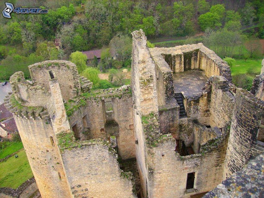 château de Bonaguil, mury