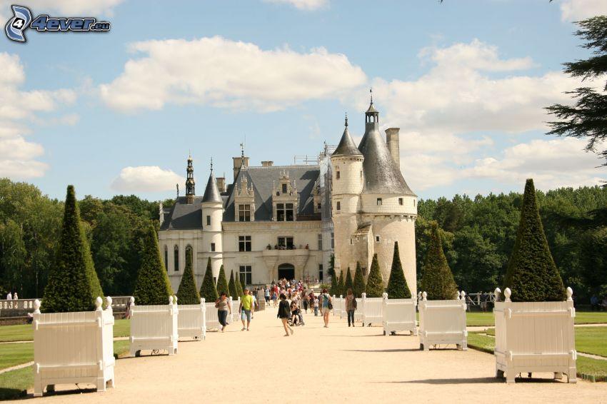 Château de Chenonceau, park, las, turyści
