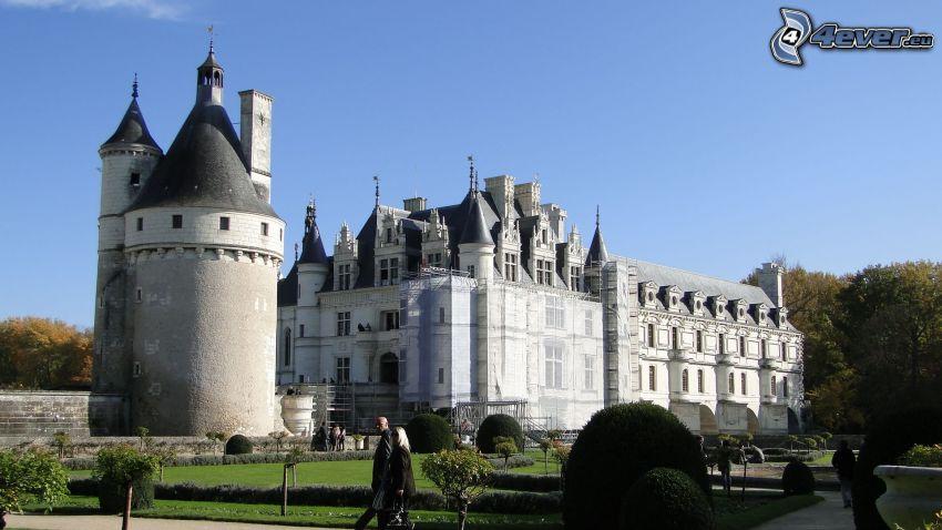 Château de Chenonceau, park, turyści