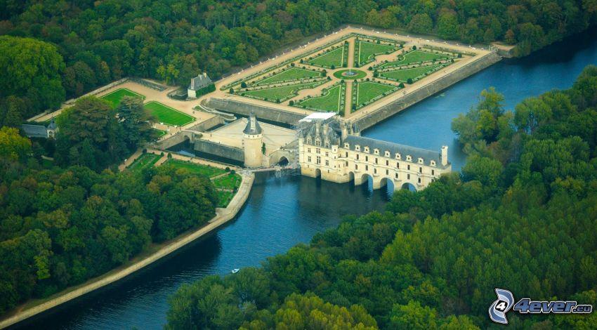 Château de Chenonceau, rzeka, park, las