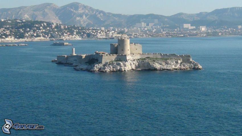 Château d'If, morze, wyspa, pasmo górskie