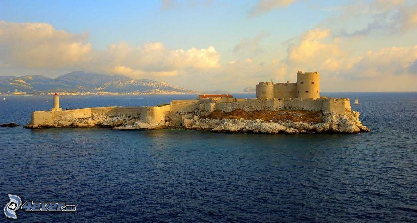 Château d'If, morze otwarte, wyspa