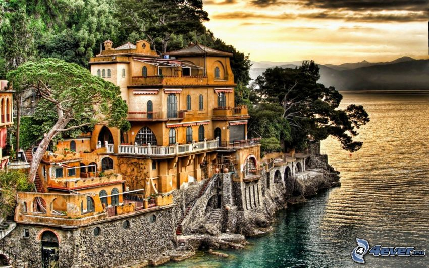 dom przy morzu, wybrzeże, HDR
