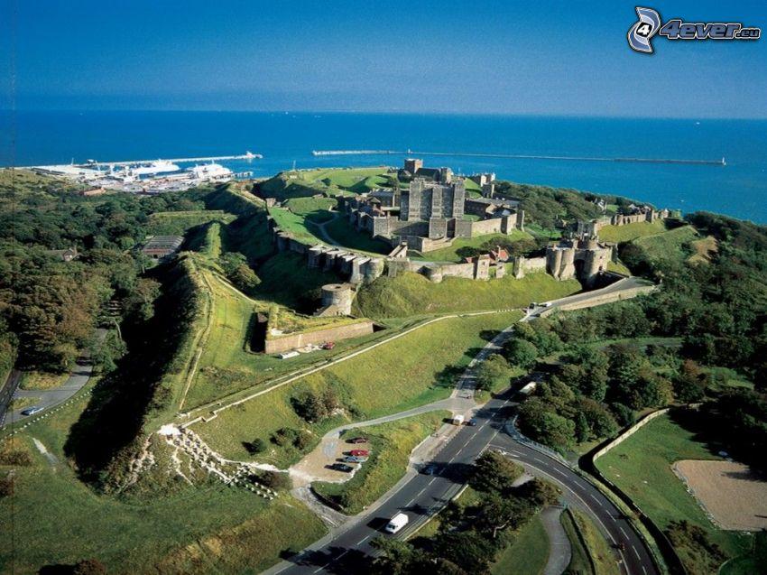 Dover Castle, widok, park, morze otwarte