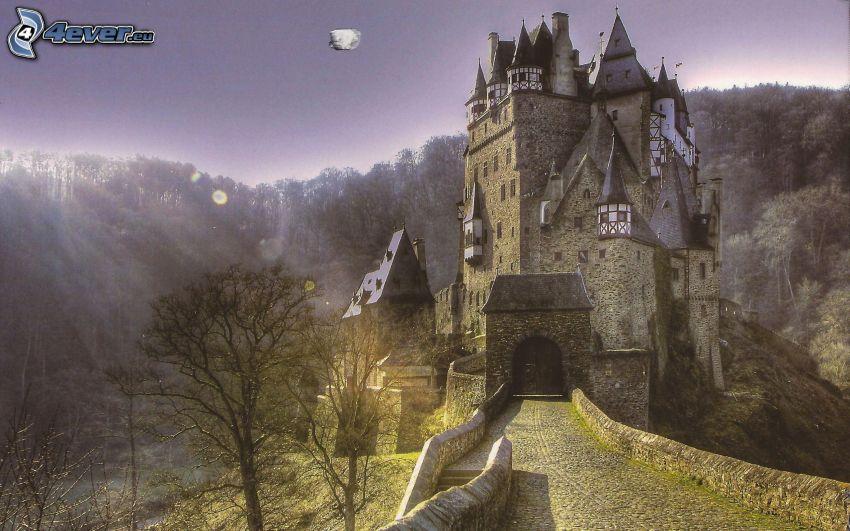 Eltz Castle, promienie słoneczne, las