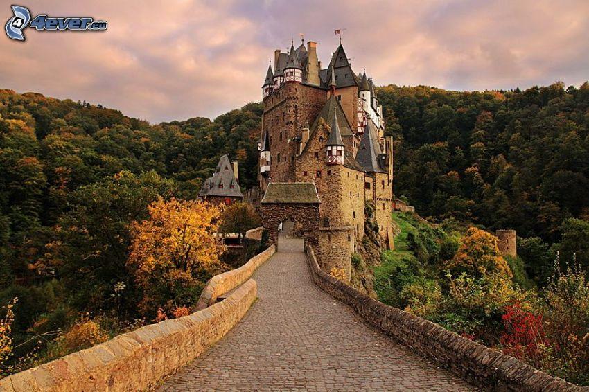 Eltz Castle, wzgórze, las
