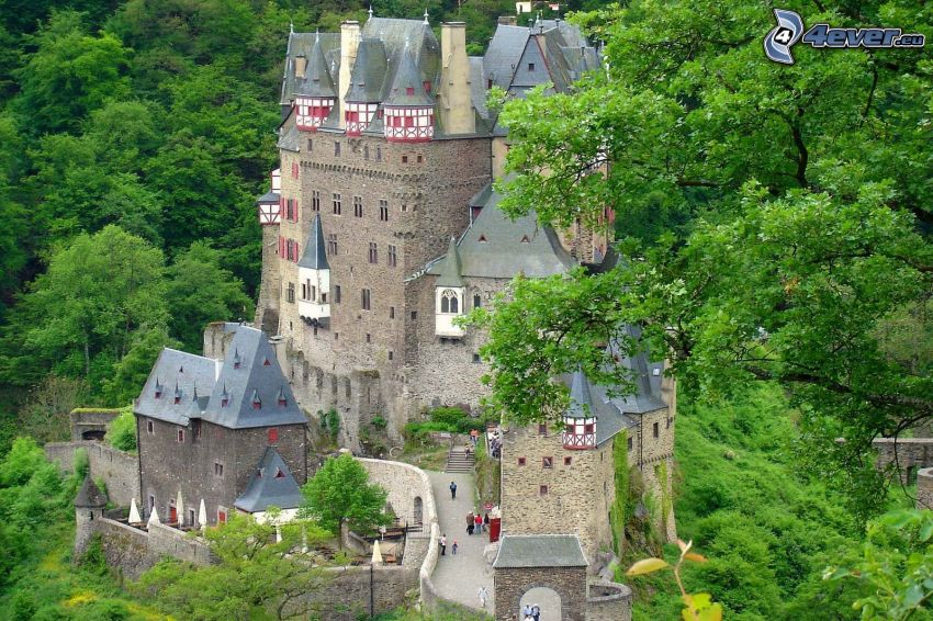 Eltz Castle, zielone drzewa