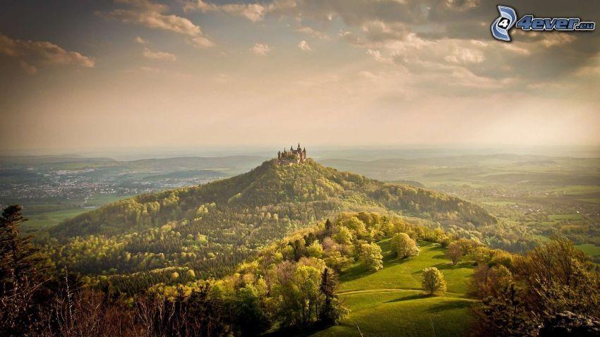 Hohenzollern, wzgórze, zamek, Niemcy, promienie słoneczne, widok na krajobraz